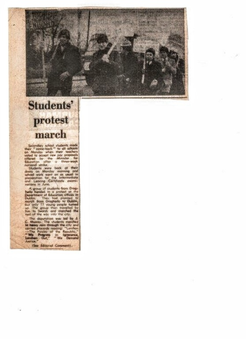 Newspaper cutting with photo and report of march